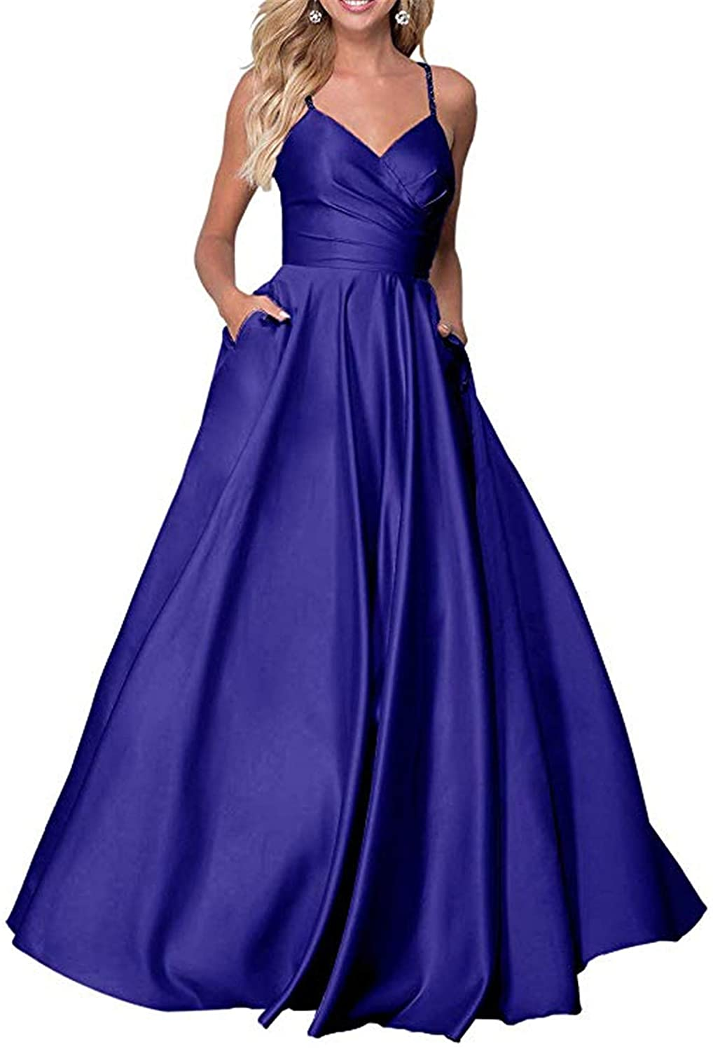 Royal bluee QiJunGe Women's V Neck A Line Prom Dress with Pockets Satin Spaghetti Formal Ball Gown