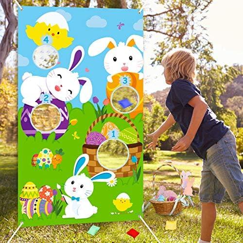 WATINC Ostern Hase Bean Bags Toss Spiele für Kinder Erwachsene Easter Outdoor Indoor Wurfspiel Spaßspiel Sitzsäcken Games Dekorationen mit 1 Poster 4 Bohnenbeutel für Karnevals Geburtstags Feier Party