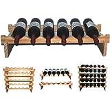 YINO robusti vini impilabili scopro ripiani di legno 3 - 108 bottiglie scaffalature deposito titolare, legno, non trattata