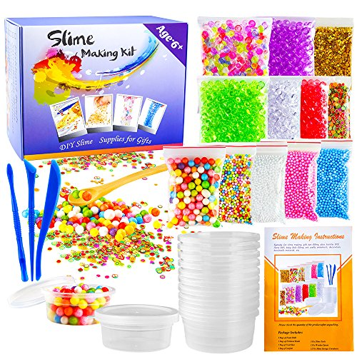 OPount 28 Pack Supplies for Making Slime Including Fishbowl Beads, Foam Balls, Foam Ball Storage Containers, Confetti, Fruit Slices and Instructions for Slime Making Art DIY Craft(Not Contain Slime)