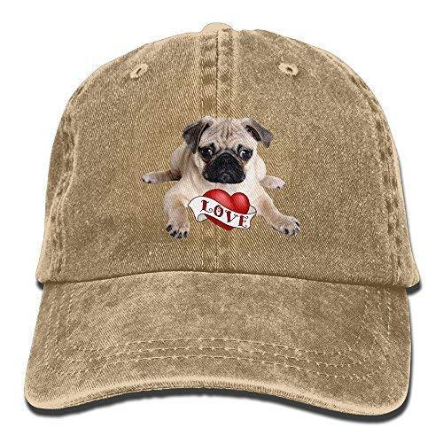 Love Pug Denim Hat Adjustable Women Vintage Baseball Hat Natural ()