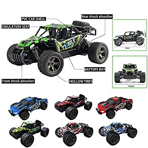 Leegor 1:20 2WD High Speed RC Racing Car 4WD Remote Control Truck Off-Road Buggy Shock Absorption Trick High Speed Car Toys cool Christmas Gift (F)