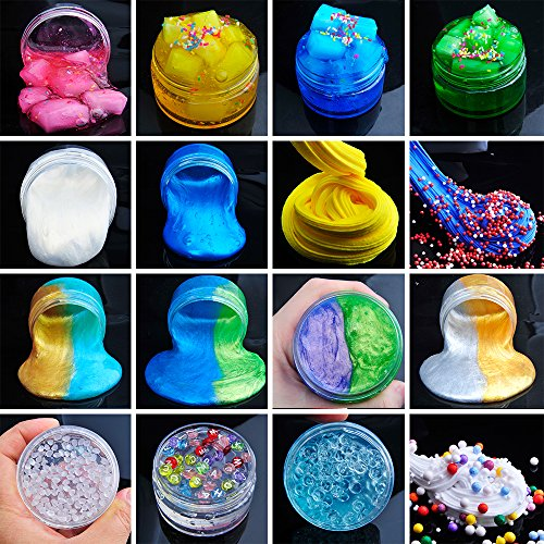 HSETIY Super Slime Kit Supplies-12 Crystal Clear Slimes 54 Packs Glitter Sheet Jars, 3 Jelly Cubes,4 Pcs Fruit Slices,16 pcs Animals Beads, Foam Balls,5 Slime Containers DIY Art Crafts by HSETIY (Image #2)