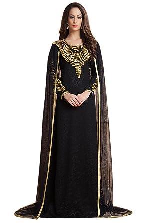 a254013b9a1ae2 Kolkozy Fashion Women's Saudi Arab Dubai Style Kaftan with Veil Kaftan White  Size XS