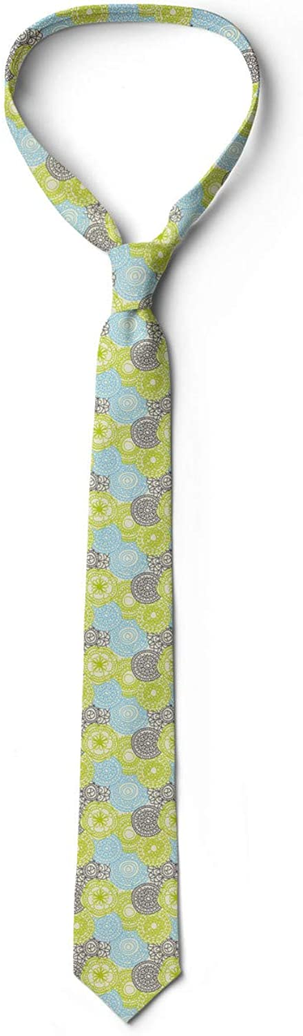 Ambesonne Mens Tie Pastel Folk Style Flower 3.7 Apple Green Aqua Grey