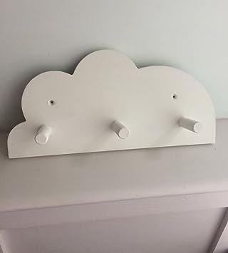 Cuarto de nube peg pared perchero hecho a mano y pintado de ...