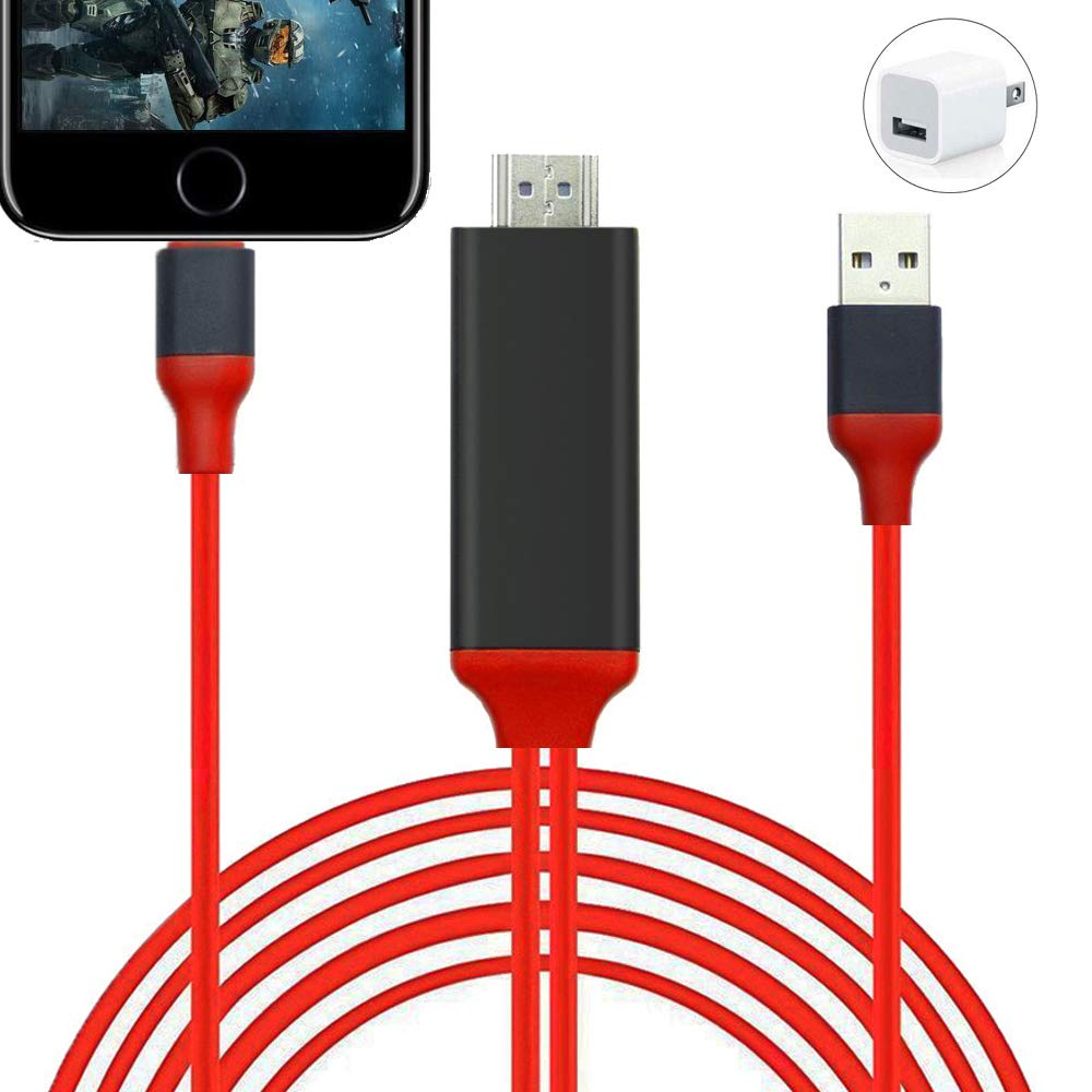 HDMI Adapter Compatible with Phone, Phone to HDMI Adapter, 6.6ft 1080P Digital AV Adapter Sync Screen Connector HDTV Cable for Phone Pad Pod Models to TV Projector Monitor