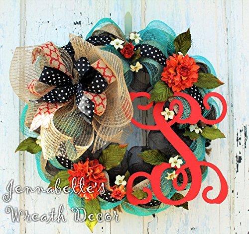 Summer Door Wreath   Fall Door Wreath   Burlap Wreath   Mesh Wreath    Monogrammed Door