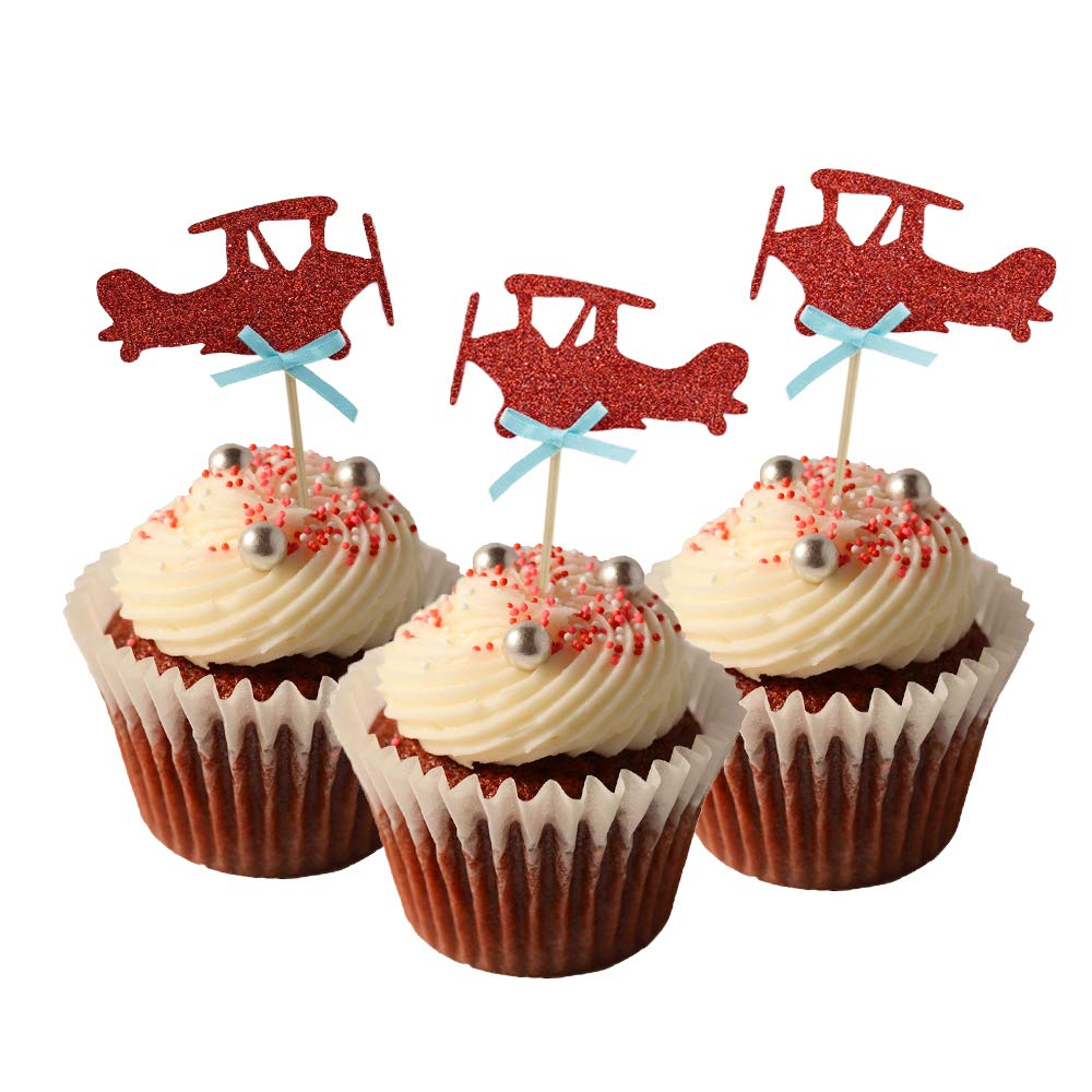 HOKPA Airplane Cupcake Toppers Cake Food Dessert Picks Baby Shower Kids' Boys Birthday Party Decors (24PCS Red)