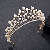 Lessonmart Women Crown Headband Imitation Pearl Wedding Bridal Crystal Tiara for Party Prom Birthday C