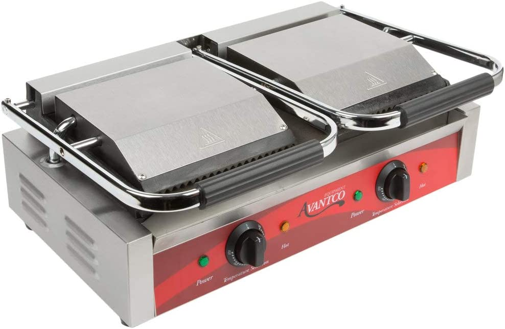 Avantco P88SG Double Commercial Panini Sandwich Grill with Grooved Top and Smooth Bottom Plates - 18 3/16