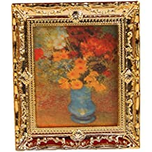 Lowpricenice Golden Plastic Frame Flower Oil Painting 1:12 Miniature Dollhouse Furniture