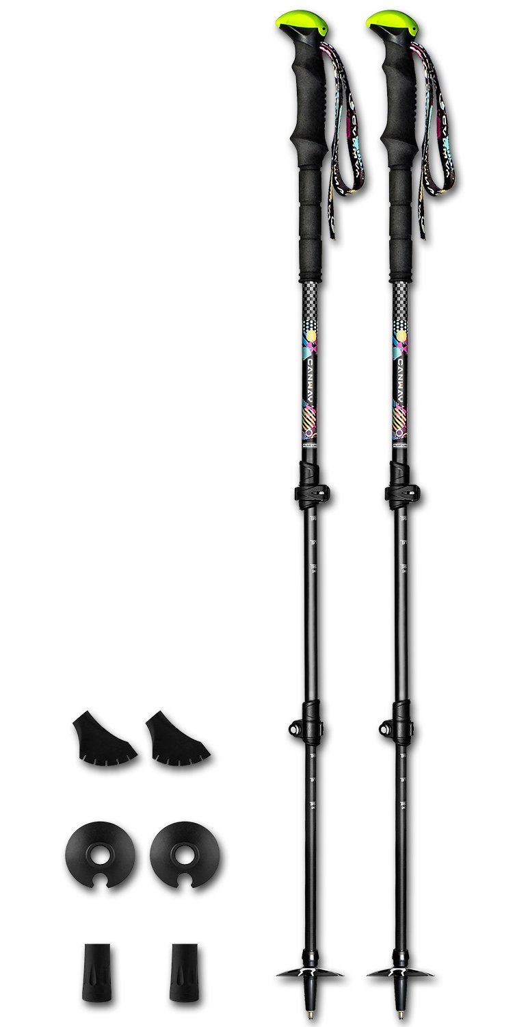 Trekking Poles,Canway Carbon Fiber Lightweight Walking Sticks,Collapsible Hiking / Walking Poles with Soft EVA Foam Grips, Quick Locks,Camera Holder,All Terrain Accessories and Carry Bag,2 Counts