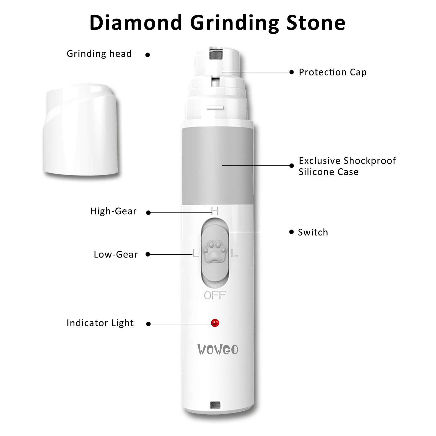 Pet Nail Grinder, WOWGO Rechargeable Electric Gentle Paws Nail Grinder Trimmer Clipper with USB Charging Cable for Dogs Cats Hamsters, Rabbits,Birds etc