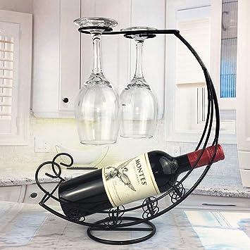 AIQQ Botelleros Estante para Vino Creativo de Cobre Chapado en Vidrio Porta Piratas Forma Barco Decoración
