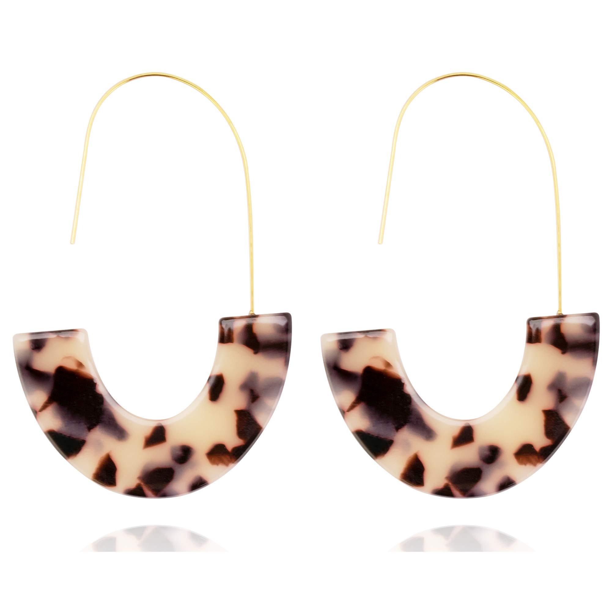 Acrylic Statement Earrings Tortoise Shell Earrings Fashion Jewelry Big Drop Earrings For Women