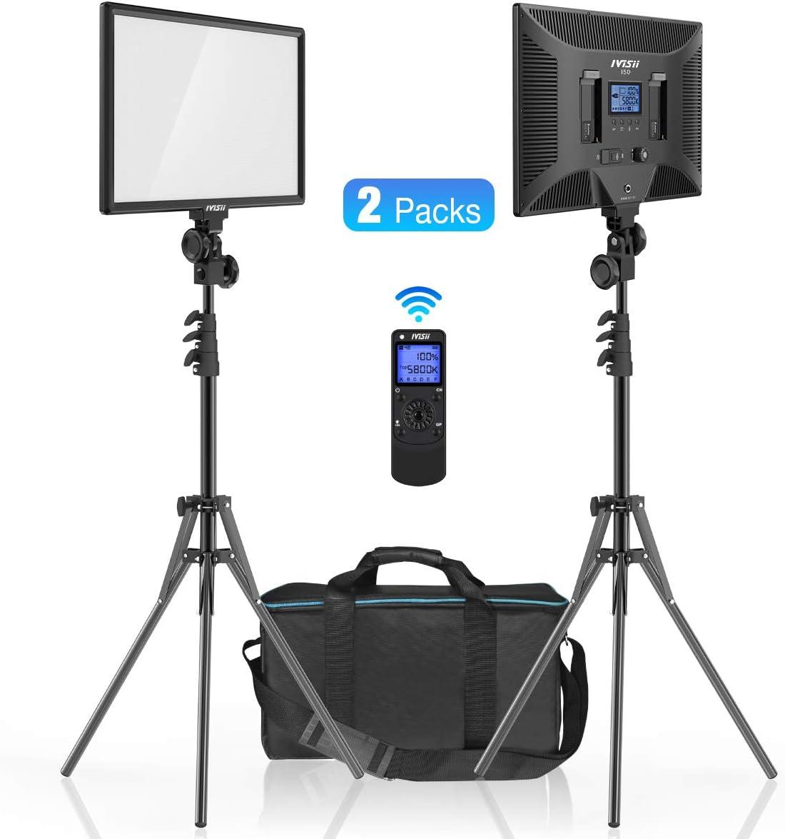 IVISII 2-Pack LED Video Light, Dimmable Bi-Color 3000K-5800K Panel Light, Video Lighting Kit for YouTube Studio Photography Portrait Shooting Live-Stream