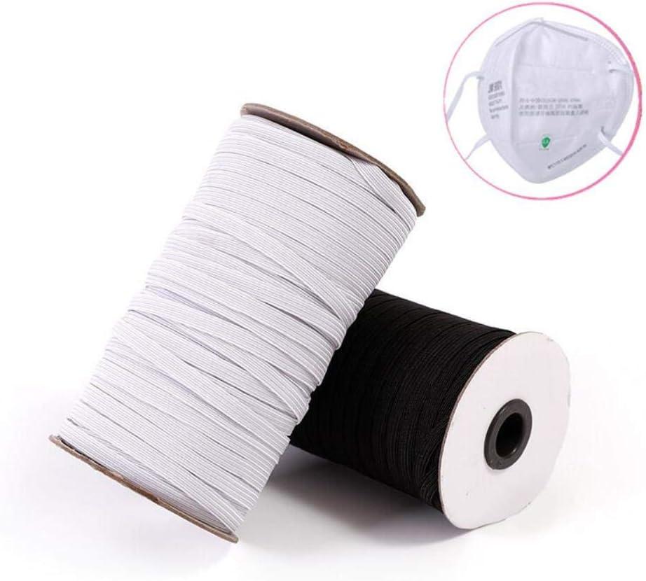 3//6//9//10//12 mm 10 metros 3 mm cuerda de coser para bricolaje banda el/ástica de goma para la cintura Cinta el/ástica para costura Negro 10 m. color blanco y negro