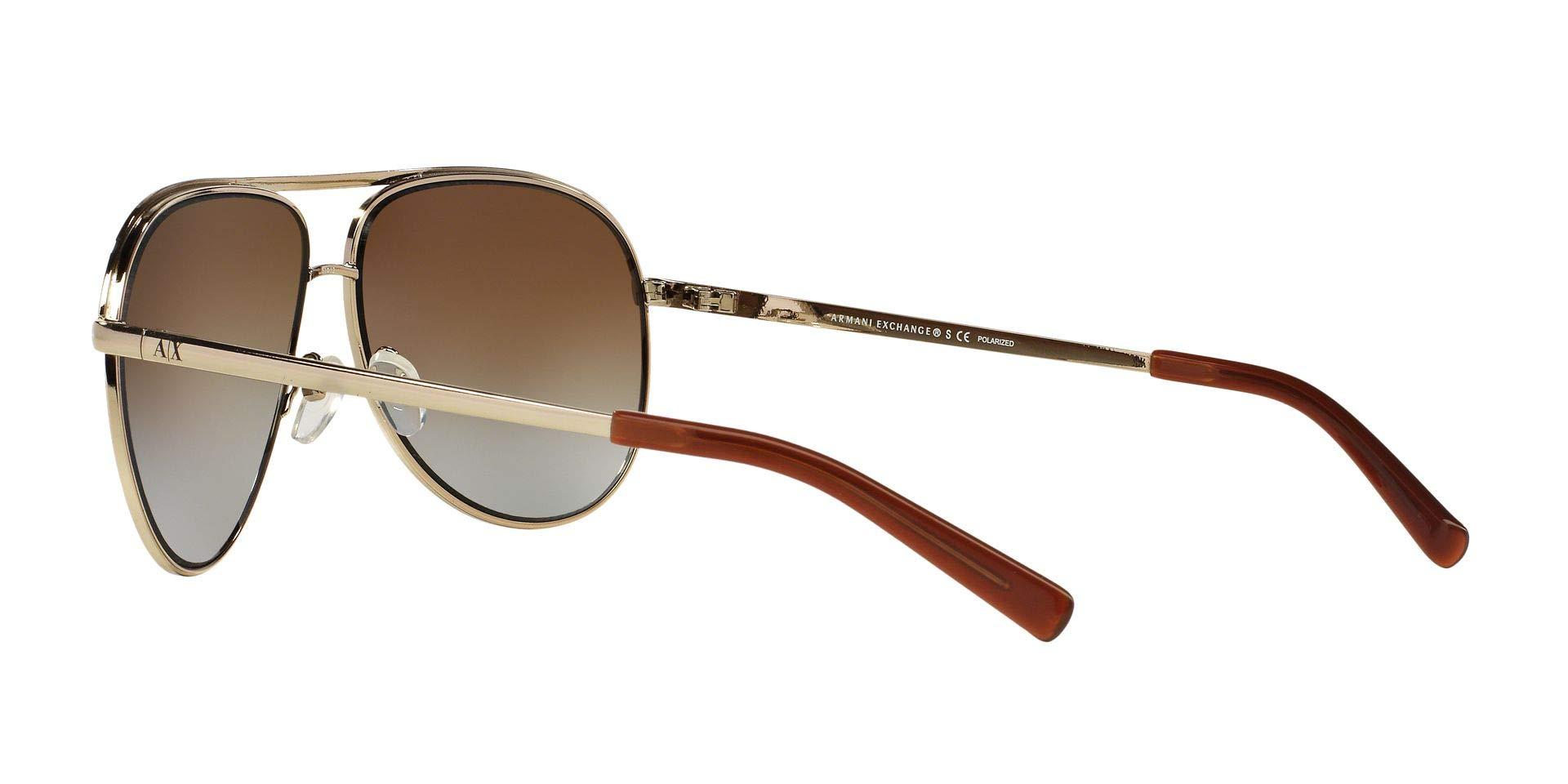 Armani Exchange Metal Unisex Polarized Aviator Sunglasses, Light Gold/Dark Brown, 61 mm by A|X Armani Exchange (Image #6)