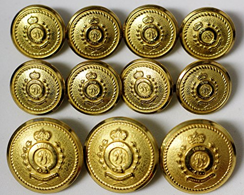"Waterbury Half dome brass tone metal alloy BLAZER BUTTON SET ""BB 1818"" 11 button set made in Connecticut"