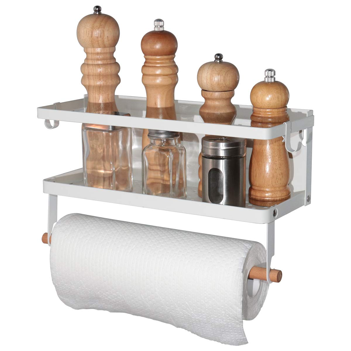 Boeray Magnetic Fridge Spice Rack Refrigerator Organizer Rack Double Tier Foldable Kitchen Magnetic Side Shelf for Storage Spices Sauce Salt Pepper Towel with Wooden Holder Hook and Screw White