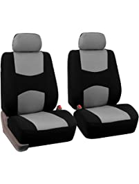 FH Group FB050GRAY102-A Universal Fit Flat Cloth Pair Bucket Seat Cover,