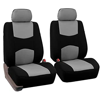 FH Group Universal Fit Flat Cloth Pair Bucket Seat Cover Gray Black