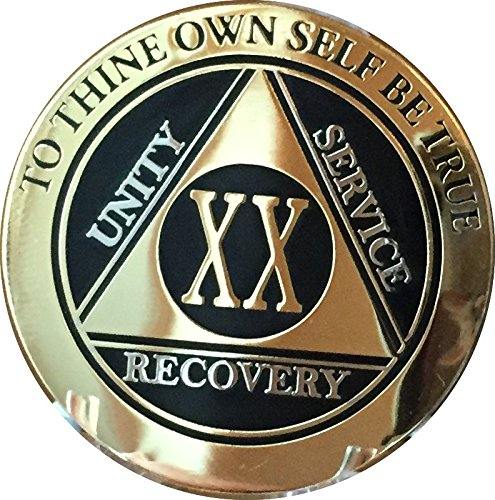 Aa Service Kit - RecoveryChip 20 Year AA Medallion Elegant Black Gold Silver Bi-Plated Alcoholics Anonymous Chip