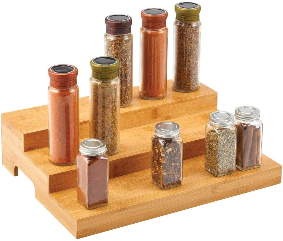 mDesign 3-Tiered Spice Rack /— Freestanding Bamboo Kitchen Storage Shelf for Spices and Ingredients /— Compact Spice Holder with 3 Tiers /— Natural