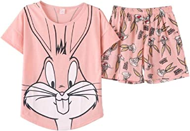 Verano Pijamas Mujeres Encantador Conejo De Dibujos Animados ...