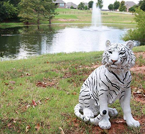 """Ebros Large 20"""" Tall Realistic White Siberian Tiger Sitting On Guard Decorative Resin Statue As Guest Greeter Welcome Home Decor Figurine As Tundra Jungle Giant Cat Apex Predator Sculpture"""