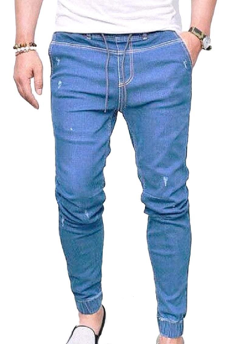 FieerMen Bodycon Fashion Pocket Mid Waist Solid Plus Size Denim Jeans