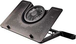 """Wghz Laptop Cooling Stand in Aluminium - Cooler Pad Compatible with Notebook 12"""" to 17"""" – 5 Quiet Fans – 1 Smartphone Stand - Ergonomic 5 Adjustable Height,Silver"""