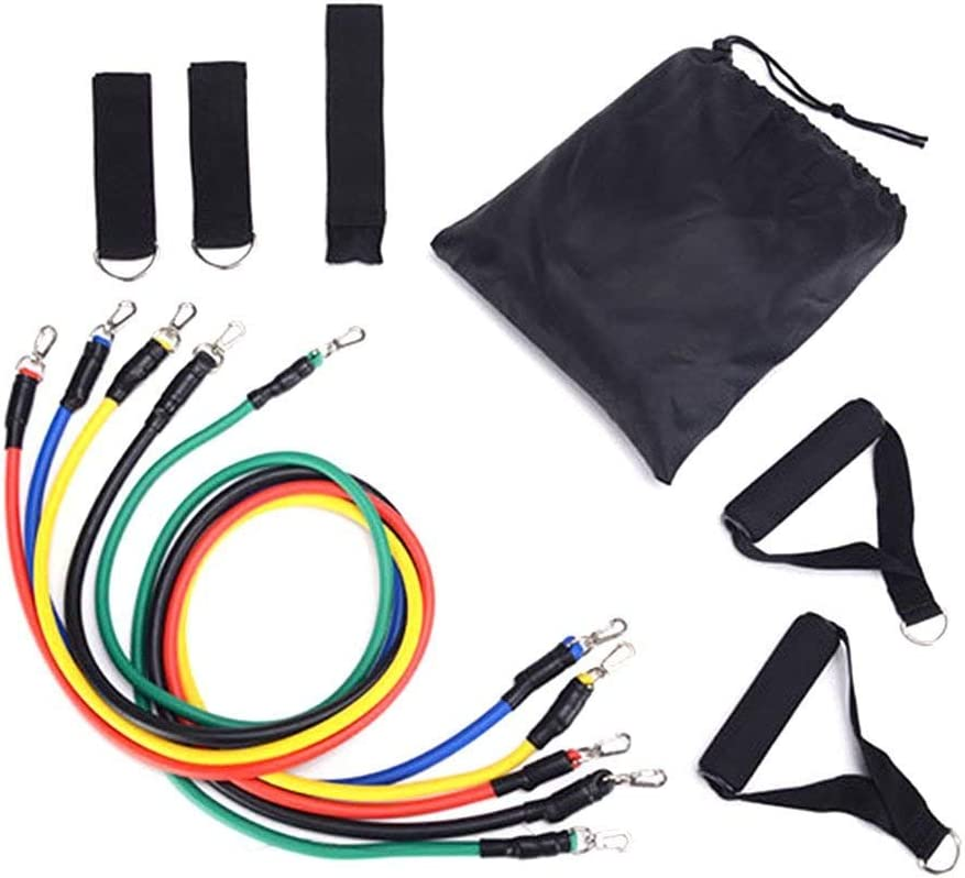 Legs Ankle Straps and Handles Resistance Loop Bands Door Anchor Stretch Training Set with 5 Exercise Bands with Carry Bag YOMYM Resistance Band Set