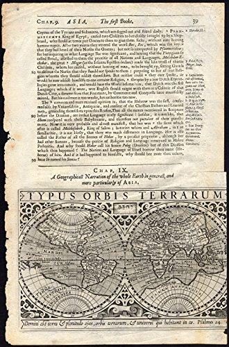 (Antique Map-WORLD-DOUBLE HEMISPHERE-TYPUS ORBIS TERRARUM-Mercator-Purchas-1626)