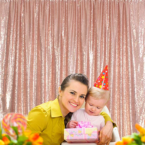 Party Delight 8Ft X 8Ft Rose Gold Non-Transparent Sparkling Satin Sequin Backdrop Curtain for Photography and Photo Booth, Birthday, Baby Bridal Shower. (8Ft x 8Ft,Rose Gold)