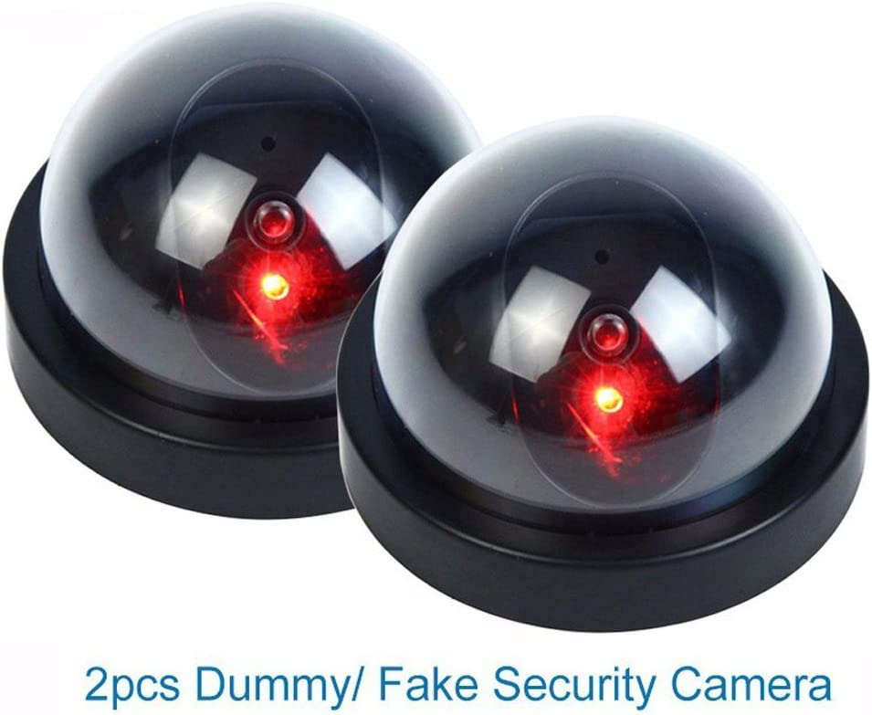 Fake Camera,Dummy Security Camera w/Flashing Red Light for Night, Dome Camera CCTV Surveillance System with Realistic Look Recording LEDs 2 Pack (Black)