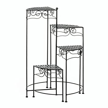 Amazon.com: Para plantas de jardín Stands, Negro four-tiered ...