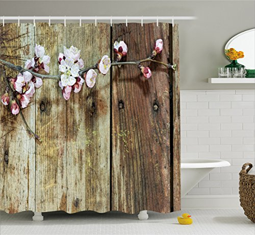 Walnut Bathroom Accessories (Rustic Home Decor Shower Curtain by Ambesonne, Stained Walnut Branch with Soft Twiggy Swirling Flower Leaves Concept, Fabric Bathroom Decor Set with Hooks, 70 Inches, Pink Brown)