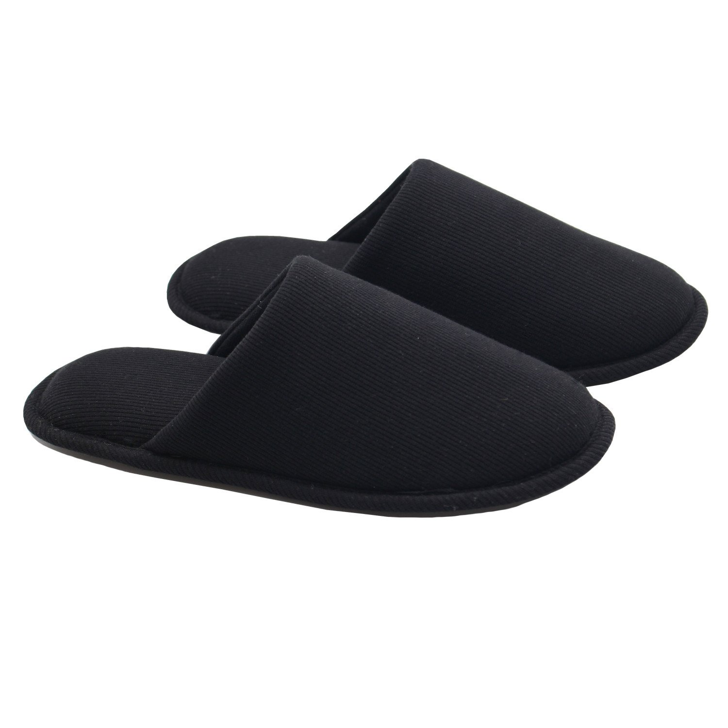 Ofoot Men's Cozy Thread Cloth Organic Cotton House Slippers, Washable Flat Indoor/Outdoor Slip On Shoes (X-Large/12-13 D(M) US, Black)