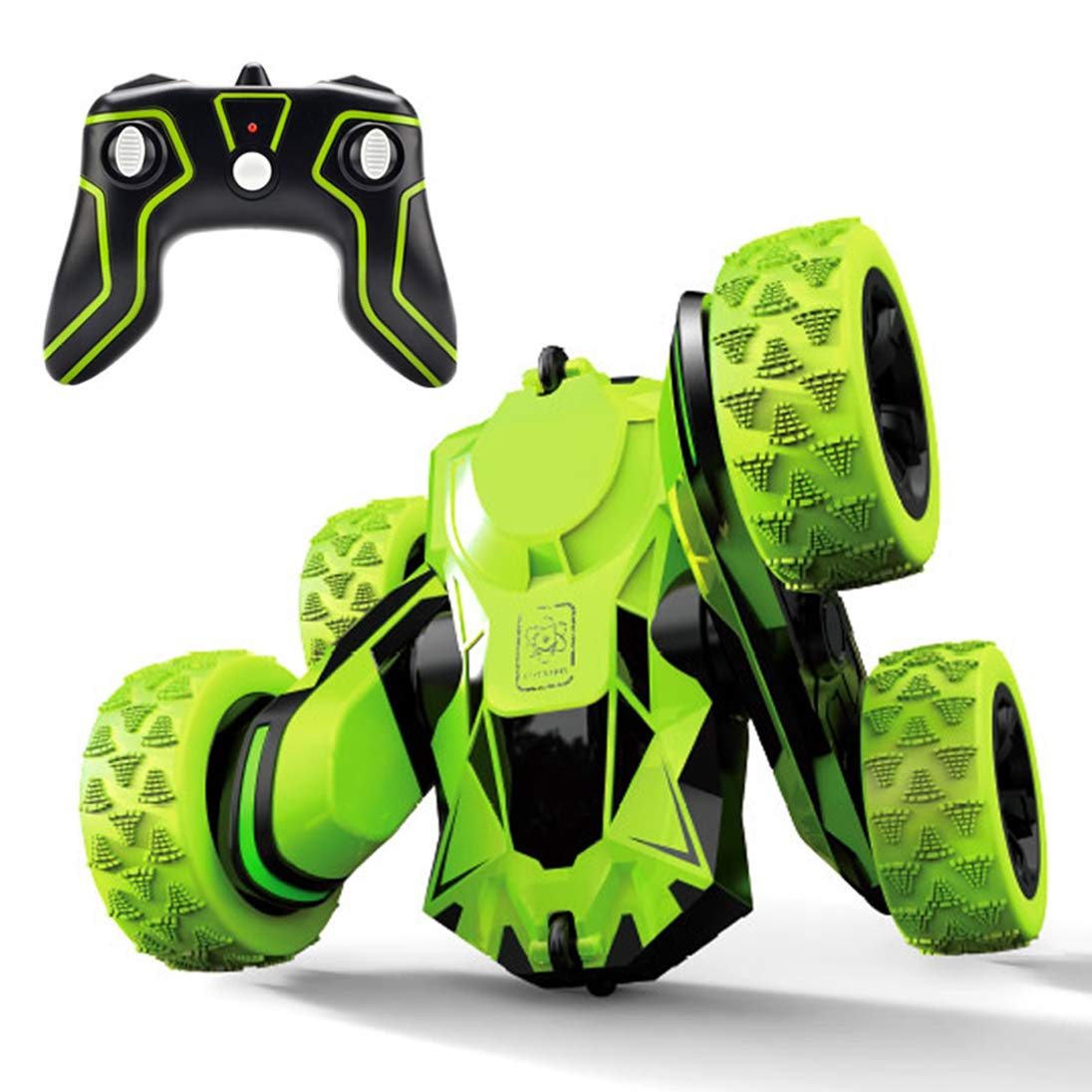 Threeking Rc Stunt Car Remote Control Off-Road Truck Double Sided Tumbling 360 Degree Rotation 3D Deformation Dance Car 1:28 2.4Ghz Rechargeable Stunt Car Great Gift for Kids - Green by Threeking (Image #6)