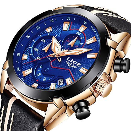 Watches Mens,Analog Quartz Leather Wrist Watch Brand LIGE, Business Fashion Sports Waterproof Watch for Men,Rose Gold Blue Clock