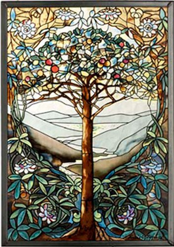 - MI Hummel/Glassmasters 9-1/4 by 13-1/4-Inch Tree of Life Stained Glass Panel