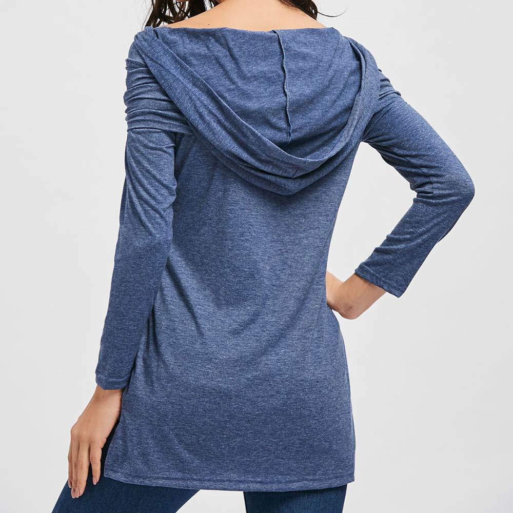 Camiseta con Capucha, LANSKIRT Damas para Mujer Ocio Color sólido Barra Oblicua Cuello con Capucha Manga Larga Camiseta Tops Blusa: Amazon.es: Ropa y ...