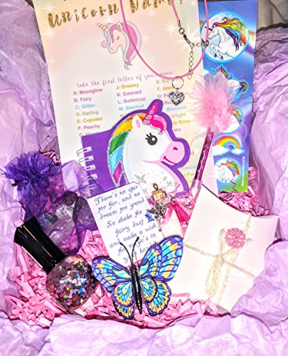 Gift Set for Girls, Unicorn Birthday Encouragement Gift Box, Charm Necklace, Toys for Girls, Fairy Dust, Unicorn Gift Basket, Gift idea, Polished Stones, Nail Polish, Stickers and Stationary ()
