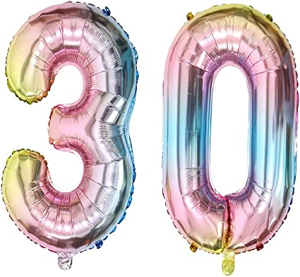 Rainbow, NO.10 2 PCs Balloons for Birthday Party Decorations Mylar Rainbow Digital Jumbo Balloons for Wedding Anniversary 40 inch Number Balloons Foil Helium