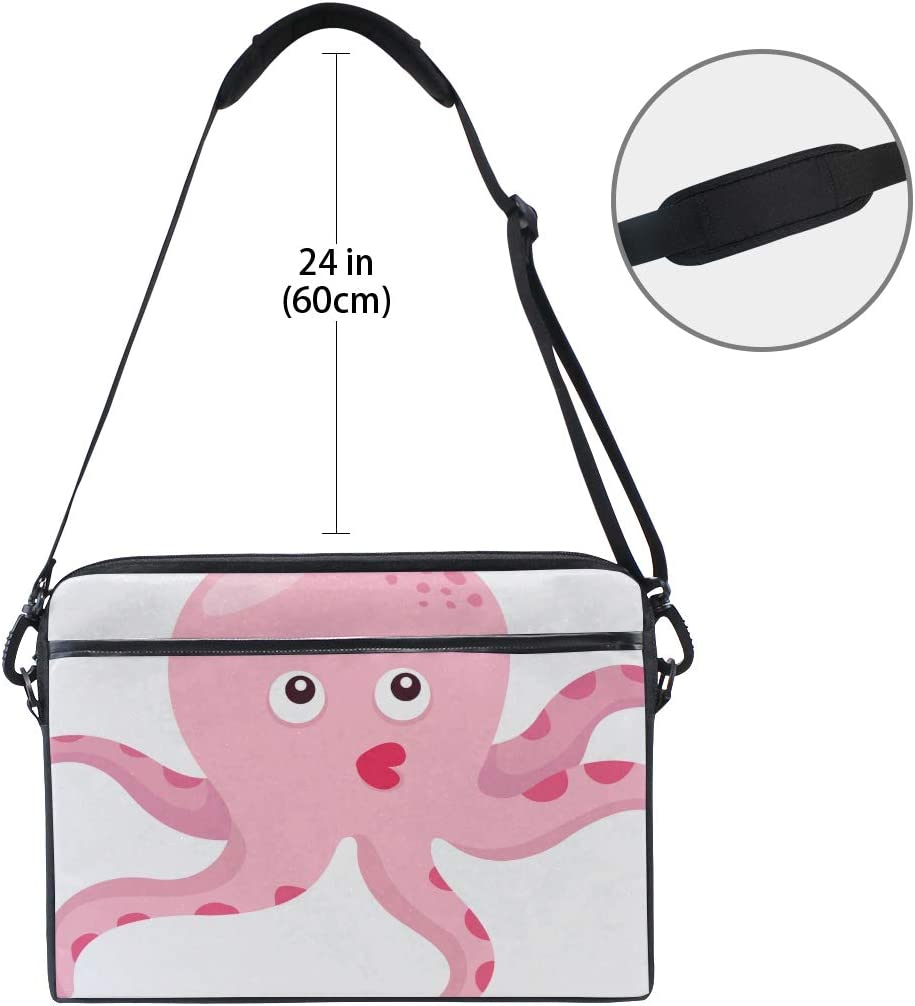 Briefcase Messenger Shoulder Bag for Men Women College Students Business People Office Work Laptop Bag Illustrator Octopus 15-15.4 Inch Laptop Case