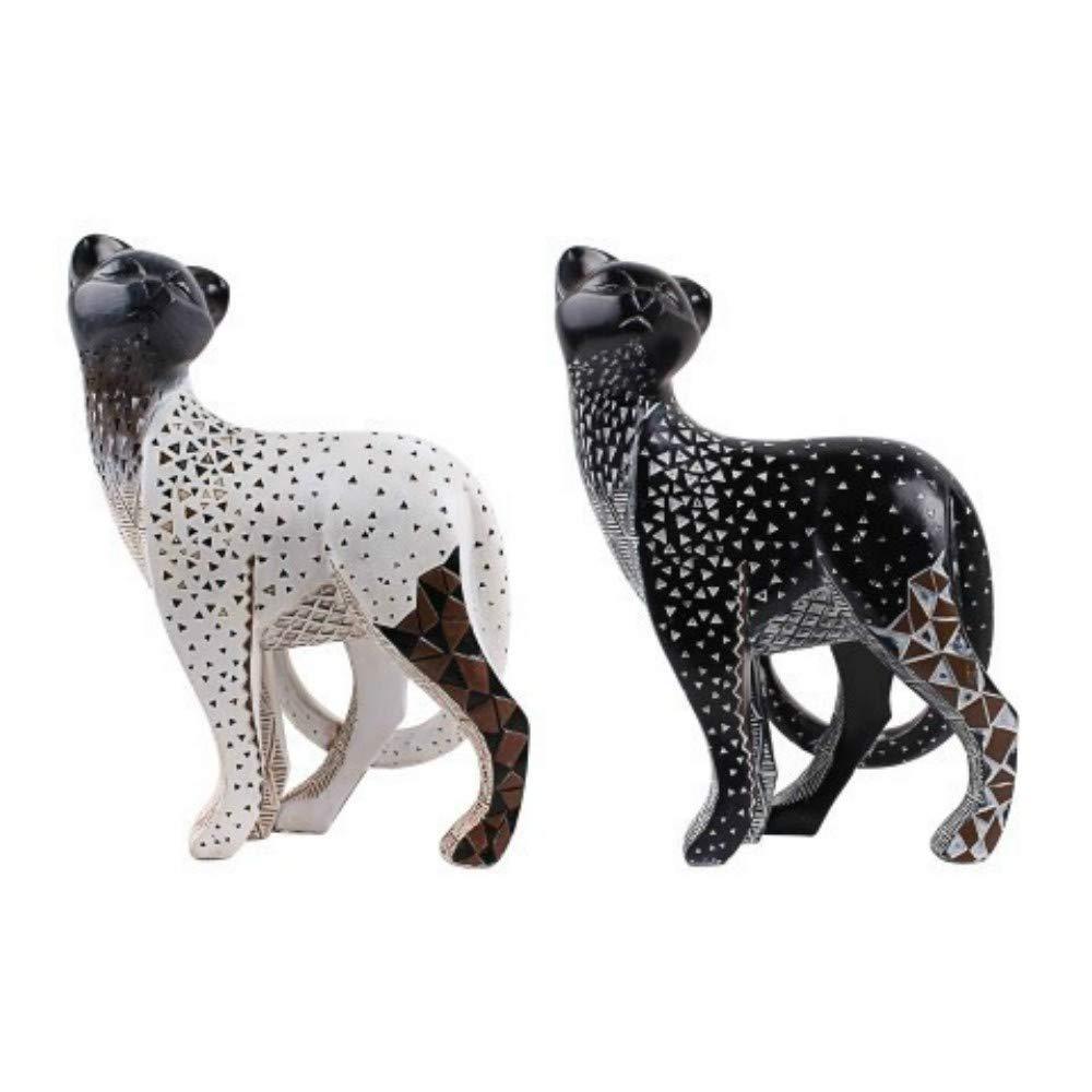 Regalos Originales 60 x 16 x 6 cm. Decoraci/ón Hogar CAPRILO Figura Decorativa de Madera Pintada Gato Adornos y Esculturas
