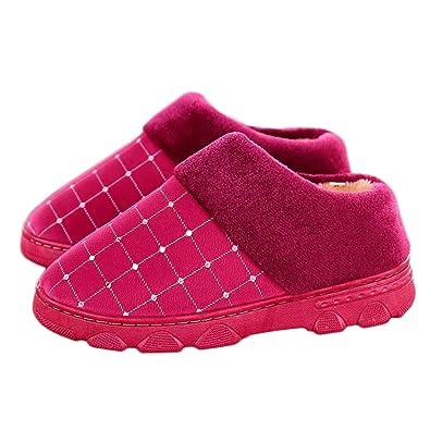 0a6ed9ec4a817 Amazon.com   CYBLING Winter Womens Cotton Slipper Waterproof Fur ...