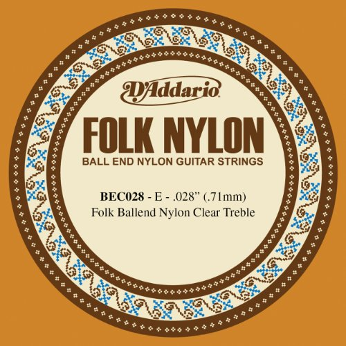 D'Addario BEC028 Folk Nylon Guitar Single String, Clear Nylon, Ball End, .028 Daddario Nylon Folk Strings